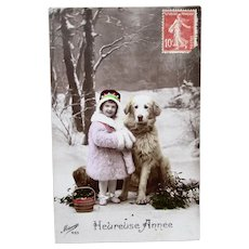 French Tinted Real Photo Postcard, Girl & Dog, New Year, Postmarked 1915