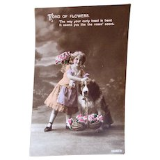 British Tinted Real Photo Postcard, Girl & St. Bernard Dog, Circa 1910s
