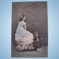 French Easter Postcard, Doll, Girl, Egg Cart, Hand Tinted French Real Photo Postcard Postmarked 1905