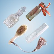 Brush, Comb and 2 Perfume Bottles for Poupee, French, Circa 1870s