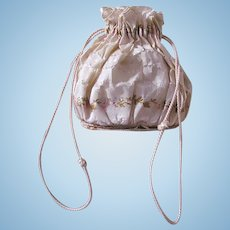 Embroidered Silk Reticule, Poupee Accessory, French, Early 19th Century