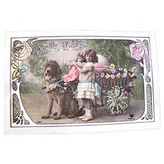 Tinted French Real Photo Postcard, Poodle Dog, Doll, Child, Easter Egg and Flowers #2, Early 1900s