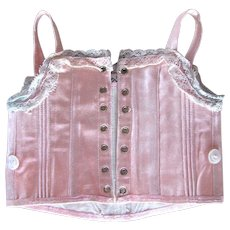 Pale Pink Sateen Corset For Bebe, Size 9, French Antique - Red Tag Sale Item