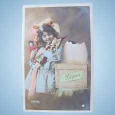 Easter, French Tinted Real Photo Postcard, Girl, Dolls, Egg in Crate, Postmarked 1909