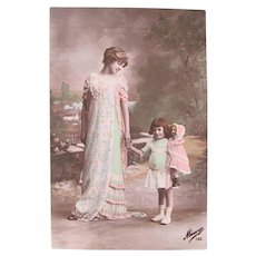 French Tinted Real Photo Postcard, Mother, Daughter and Doll, Easter Egg Colors, Circa 1910s