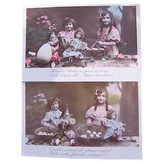 Tinted French Real Photo Postcards, Set of 2, Girl, Boy, Dolls, Easter Eggs