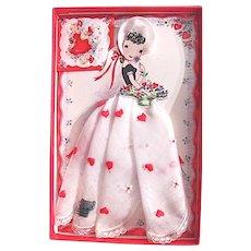 Valentine Paper Doll With Handkerchief Skirt In Original Gift Box, Treasure Masters Switzerland Circa 1950s, Hearts and Flowers