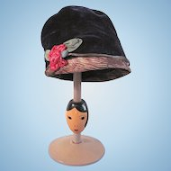 Blue Velvet Doll Cloche Hat with Original French Ribbon-work Rose