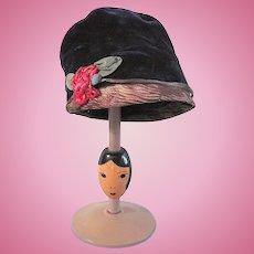 Blue Velvet Doll Cloche Hat with Original French Ribbon-work Rose