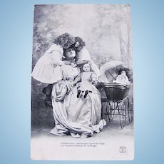 Little Mothers #3, Dolls, Girls and Grandmamma, French Real Photo Postcard Postmarked 1906