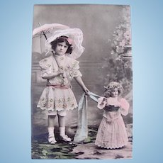 Doll, Girl, Bonnet and Parasol, French Tinted Real Photo Postcard, Early 1900s
