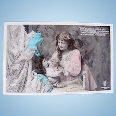 Doll's Bedtime #1, Tinted French Real Photo Postcard, Unused, Circa 1910s