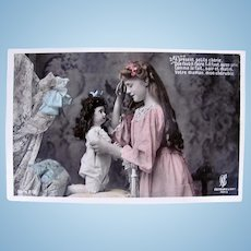 Doll's Bedtime #2, French Tinted Real Photo Postcard, Unused, Circa 1910s