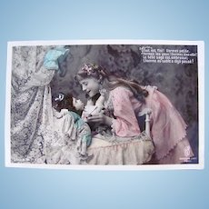 Doll's Bedtime #3, Tinted French Real Photo Postcard, Unused, Circa 1910s