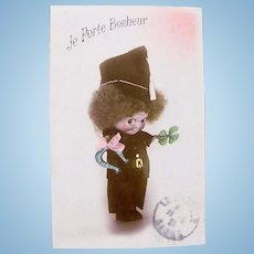 Kewpie Doll, French Tinted Real Photo Postcard, I Bring Happiness, Postmarked 1925
