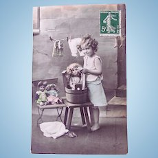 Dolls' Bath Day #1, Tinted French Real Photo Postcard Postmarked 1912