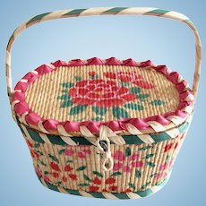 Doll's or Child's Painted Basket, Made in Japan, Circa 1950s
