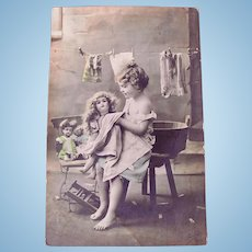 Dolls' Bath Day #2, Dolls' Laundry, French Tinted Real Photo Postcard Postmarked 1912