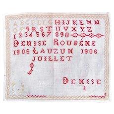 French Child's Sampler Dated 1906, Stitched Needlework Sampler