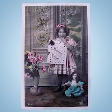 French Birthday, Tinted Real Photo Postcard, Doll, Girl and Roses, Dated 1909