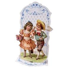 Vintage Valentine 3D Die-Cut Children, Butterfly & Roses, Printed in Germany