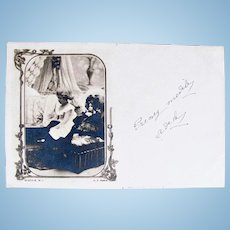 Me and My Doll #2, French Real Photo Postcard Postmarked 1902