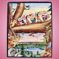 Walt Disney Seven Dwarfs Frame Tray Puzzle, Whitman, Vintage 1930s