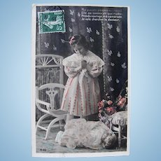 The Sick Doll, French Tinted Real Photo Postcard, Postmarked 1903