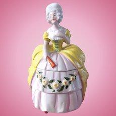 German Half Doll Powder Box, Porcelain Trinket Box, Circa 1930s