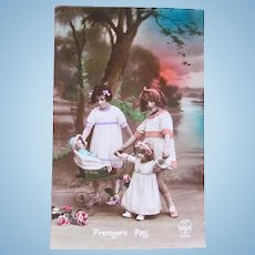 French Dolls and Girls, Tinted Real Photo Postcard, First Steps, Circa 1920s