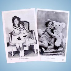Shirley Temple, 2 French Real Photo Postcards, Doll and Teddy Bear, Circa 1930s