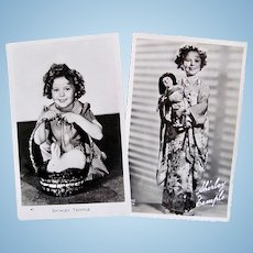 Shirley Temple, 2 French Real Photo Postcards, Rabbit and Japanese Doll, Circa 1930s