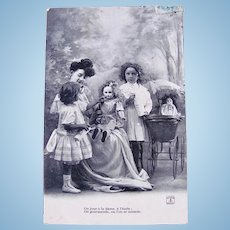 Little Mothers #1, Dolls, Girls and Mama, French Real Photo Postcard Postmarked 1906