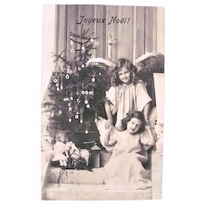 French Real Photo Postcard, Angel Girls, Doll, Christmas Tree, Circa 1910s