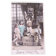 French Tinted Real Photo Postcard, Happy New Year, 4 Children, Dolls and Toys