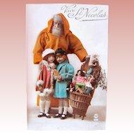 French Real Photo Postcard, Orange Robe Santa, Children, Dolls, Toys, Circa 1920s