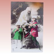French Christmas Card, Santa, Children, Dolls and Toys, Unused Tinted Real Photo Postcard