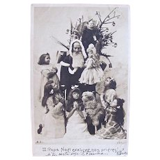 Early French Real Photo Postcard, Santa, 5 Girls, Dolls, Toys and Tree