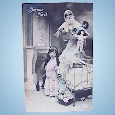 French Tinted Real Photo Postcard, Santa, Dolls and Girl, Merry Christmas, Ca. 1910s