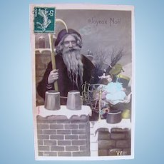 French Tinted Real Photo Postcard, Santa on Rooftop, Doll and Toys, Postmarked 1908