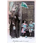 Tinted French Real Photo Postcard, Santa, Children, Doll and Toys, Dated 1910