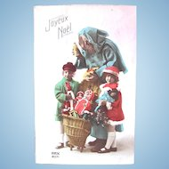 Blue Robe Santa, Children, Dolls and Toys, French Real Photo Postcard, Dated 1927