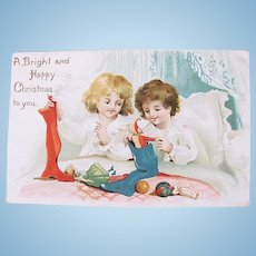 Christmas Postcard, Dolls and Children, Embossed, Postmarked Ohio 1910