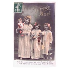 French Christmas, 3 Children, Doll and Toys, Tinted Real Photo Postcard, Circa 1910s