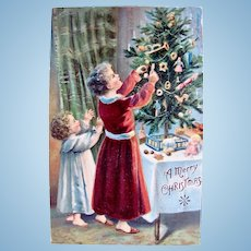 Christmas Postcard, Xmas Tree, Dolls and Toys, Postmarked Ohio 1901