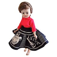 Vogue Jill Doll, Brunette Ponytail in Record Hop Fashion 7506, Circa 1957