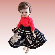 Vogue Jill Doll, Brunette Ponytail in Record Hop Fashion 7506, Circa 1957