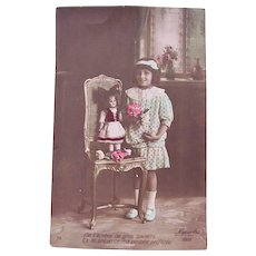 French Tinted Real Photo Postcard #1, Doll, Chair, Girl and Roses, 1910s