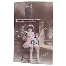 French Tinted Real Photo Postcard #3, Girl, Doll, Soldier, Circa 1910s