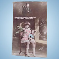 French Tinted Real Photo Postcard #3, Little Girl with Doll, Papa in Uniform, Circa 1910s